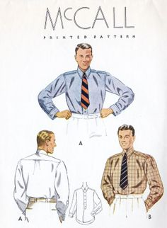 1930s Mens Button Down Shirt