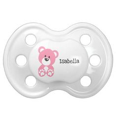 Pink Teddy Bear 0-6 months BooginHead® Pacifier - girly gift gifts ideas cyo diy special unique