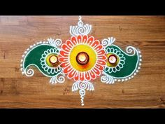 Simple freehand Rangoli Design for Diwali - Rangoli designs with colours...