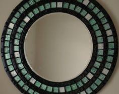 Beautiful Handmade Mosaic Mirror Bevelled Edge Glass Green Foiled And Black Glitter Mosaic Tile