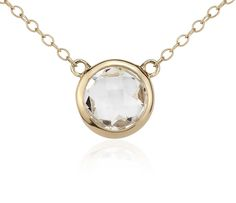 White Topaz Solitaire Necklace in 14k Yellow Gold | Blue Nile