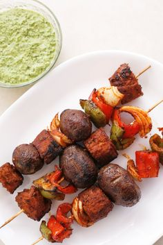 Peruvian Seitan and Potato Skewers ( Seitan Anticuchos ) (Red Seitan recipe via Viva Vegan cookbook)