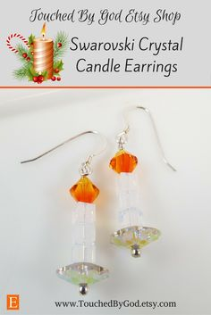 #Christmas #Etsy #Jewelry #Handcrafted - #Swarovski #Crystal #earrings - Swarovski Crystals are fashioned to portray beautiful Christmas Candles. For ladies who want jewelry as fabulous as they are! Touched By God's jewelry is a fresh alternative to generic, mass-made pieces. Timeless and classic, these earrings are an all around everyday staple that will make an excellent gift idea for any of the wonderful women in your life!- Visit my shop at www.TouchedByGod.com!