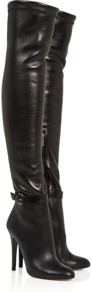 Jimmy Choo Black Tamba Stretch Leather Over The Knee Boots