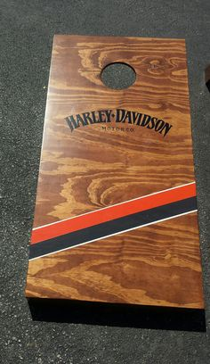 a harley davidson set of cornhole boards that we made! www