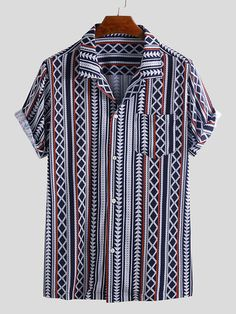 ChArmkpR Mens Ethnic Stripe Printed Chest Pocket Turn Down Collar Short Sleeve Loose Shirts Best Online - NewChic Men's Fashion, Indian Men Fashion, African Fashion, African Style, Versace Fashion, Fashion Outfits, Mens Vintage Shirts, Camisa Floral, Loose Shirts