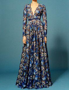 Womens Elegant V Neck Printed Colour Dress – pickmewear Couture Fashion, Runway Fashion, Spring Skirts, Naeem Khan, Latest Fashion Clothes, Sleeve Styles, Gowns, Elegant, Fashion Design