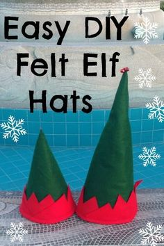 DIY felt elf hats - great party favors for a holiday gathering or for a Christmas card photo.