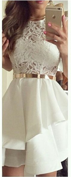 U0063,Lace ,White ,Juniors ,Cheap Homecoming Dresses