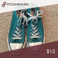 Turquoise converse Great condition. Converse Shoes Athletic Shoes