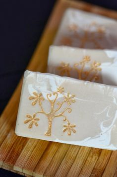 Pretty soap with gold mica stamp.