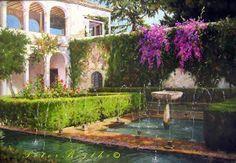 Título: Patio de la Sultana - Generalife (Granada).  Técnica: Óleo sobre lienzo.  Tamaño: 65x92 cm.  Precio: Vendido.