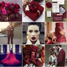 Marsala ist die Trendfarbe! Traut euch und setzt auch ihr auf eurer Hochzeit ein Statement in dunkelrot. Fotos: www.instagram.com/wonderwed.de