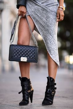 VivaLuxury - Fashion Blog by Annabelle Fleur: ASYMMETRY Necessary Clothing Karina asymmetrical dress | Dawn Levy Kristine leather jacket in Clover | Isabel Marant Royston leather ankle boots | Chanel Boy flap bag | Movado Bold crystal accent watch | Wanderlust & Co numeral silver ring November 23, 2014