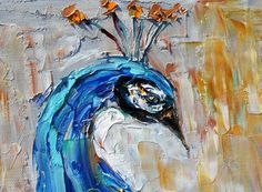Original oil painting impasto PEACOCK decorative by Karensfineart