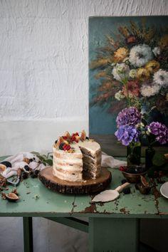 fig blackberry walnut cake with peach tea frosting - twigg studios