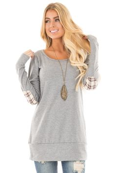 ceb43e441f Lime Lush Boutique - Heather Grey Sweater with Plaid Elbow Patches