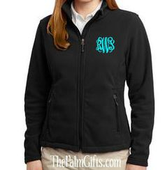 Monogrammed Fleece  Jacket  from The Palm Gifts - High Quality - Black Monogrammed Jacket