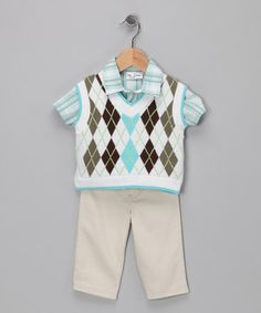 Sweater vest for little boy? Awesome!  Take a look at this Blue Argyle Vest Set - Infant by BT Kids on #zulily today!