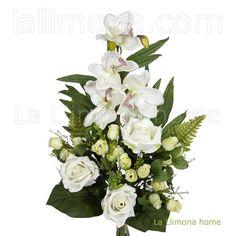 Ramo artificial orquideas cymbidiums con rosas blancas 56