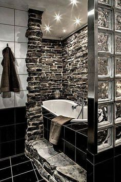 I would have used black stone, not tile but I love the scheme and stone textures