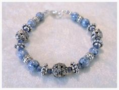 Items similar to Light Blue Marbled Glass-Kyanite-Silver inch Bracelet One of a kind. Gemstone Jewelry, Unique Jewelry, Beautiful One, Light Blue, Marble, Trending Outfits, Beaded Bracelets, Handmade Gifts, Gemstones