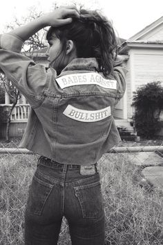 BABES AGAINST BULLSHIT... Understated Leather chopped jean jacket with white leather engraved patches. Starring Alyssa Miller. Leather Jacket Patches, Grunge Jeans, Jean Jacket Outfits, Sailor Moon Cosplay, Denim Ideas, Rocker Style, Cute Jackets, Diy Clothing, Alyssa Miller