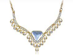 Heart Crystal Rhinestone Teardrop Elements Golden Tone Royal Necklace Contact: (702) 751-3523  Email: info@pakrobe.com  Skype: PakRobe