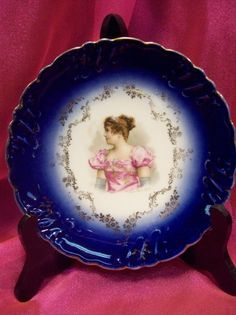Marvelous Antique Flow Blue Portrait Plate