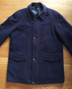 057be0c4f2ade Burberry Mens Size 52 Heavy Wool Navy Blue Car Coat Overcoat With Lining  Italy  fashion