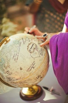 People sign a GLOBE as a guest book! And then I have a globe! I really want a globe. how do i tie this in and make it less random? Globe Guest Books, Dream Wedding, Wedding Day, Trendy Wedding, Wedding Book, Diy Wedding, Wedding Unique, Wedding Trends, Perfect Wedding