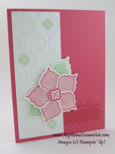 Mosaic Madness punch and embossing set used to create the flower and background on this handmade thank you card.  Strawberry Slush is a yummy color for the card base and the unique flower.