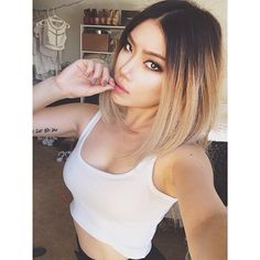 Do you love this lovely ombre bob hair style? Here are our favorite 20 Ombre Bob Hairstyles. Browse through fabulous ombre hair color ideas with bob styles, and. Hair Color Asian, Ombre Hair Color, Asian Ombre Hair, Asian Hair To Blonde, Asian Hair Blonde Balayage, Asian Hair Dyed, Asians With Blonde Hair, 2 Tone Hair Color, Lob Ombre