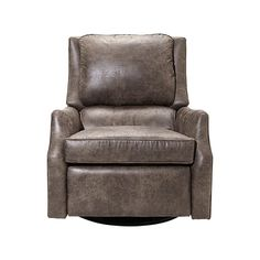 """Alex 30"""" Leather Swivel Recliner in Palance Marble"""