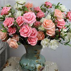 NEW ARTIFICIAL SILK ROSE FLOWER LEAF  HOME ARRANGEMENT VASE DECOR BRIDAL BOUQUET 16060312