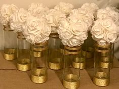 12 cylinder vases Decorated with gold shimmering wrap, wedding Centerpieces, shower Centerpieces Anniversary 50th Wedding Anniversary Decorations, 25th Wedding Anniversary, Anniversary Parties, Wedding Decorations, Anniversary Surprise, Anniversary Ideas, 50th Birthday Party, Elegant Birthday Party, Sister Birthday
