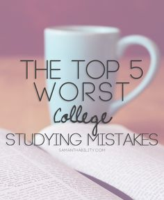 The top 5 worst college studying mistakes! Make good grades with these study tips and hacks! Perfect for college students!