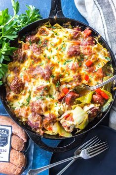 This Keto Cheesy Cabbage Sausage Skillet is a great low-carb one-skillet dinner that's packed with healthy vegetables, delicious smoked sausage, and cheese. Low Carb Recipes, Diet Recipes, Cooking Recipes, Healthy Recipes, Cooking Tips, Ketogenic Recipes, Cleaning Recipes, Bread Recipes, Recipies