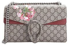 Gucci beige gg coated canvas small 'Dionysus Blooms' chain shoulder bag