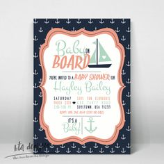 Navy, Coral & Mint Green Nautical Baby Shower Invitation 4 for Boy, Girl, or Gender Neutral, Customized, Digital by BTADesigns