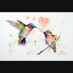 HUMMINGBIRDS Watercolor Print by Dean Crouser