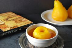 Poached Saffron Pears I recently discovered I have a pear allergy. I laugh in your face food allergy! Actually I itch all over and break out in hives, so yeah you win food allergy. But food allerg… Elegant Desserts, Just Desserts, Beef Kabobs, Poached Pears, Getting Hungry, Exotic Food, Delicious Vegan Recipes, Food Allergies, Wine Recipes