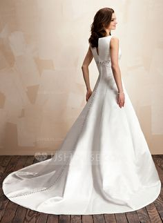 Forme Princesse Col V Train chapelle Satin Robe de mariée avec Emperler (002000072)
