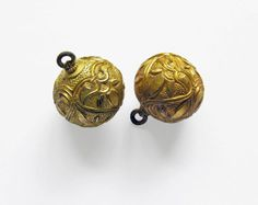 Early medieval West Slavic jewellery: Gilded gombiky (buttons) found in Pohansko, Czech Republic, c. 9th century