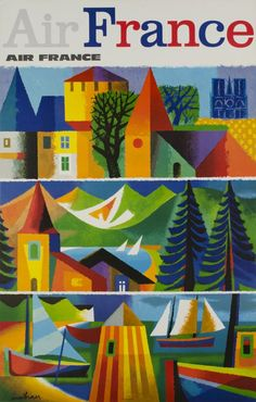 1965 France by Air France vintage travel poster