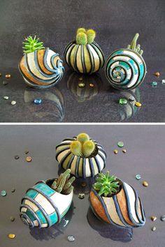 planter pot succulent / ceramic planter pot / sea shell pot / hermit crab pot (60.00 EUR) by FedericoBecchettiArt