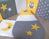 SUR COMMANDE tour de lit hibou et gigoteuse étoile : Linge de lit enfants par guiligribouilli