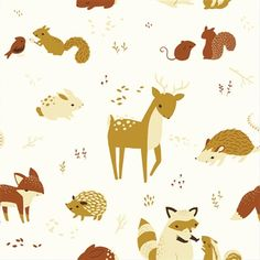 """""""Critters"""" print in the Fort Firefly collection by Birch Organic Fabric."""