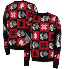 Chicago Blackhawks Klew Patches Ugly Sweater - Black - $69.99