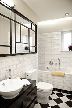 Love this bathroom for the subway tiles. #bathrooms #interiors